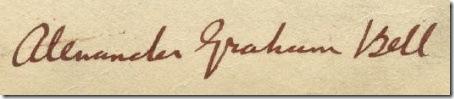 Alexander Graham Bell's signature