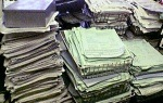Piles of paper in office