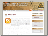 Screenshot of original blog design
