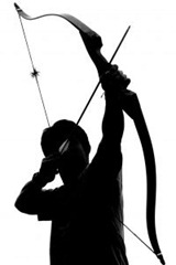 Silhouette of man shooting a box and arrow