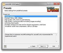 winLAME Presets screen