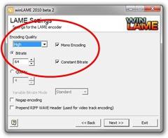 winLAME LAME Settings screen