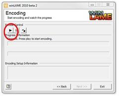winLAME Encoding screen
