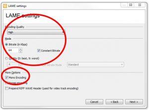 winLAME 2017 LAME settings screen