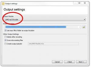 winLAME 2017 Output settings screen